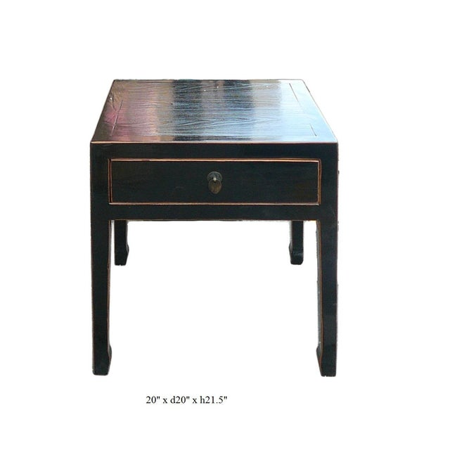 Square Black Single Drawer Side Table - Image 6 of 6