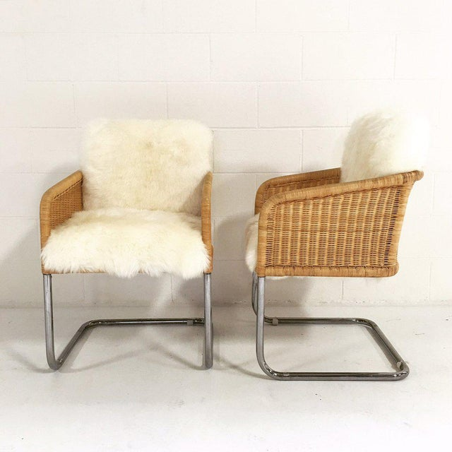 Woven Chairs with Sheepskin Cushions - A Pair - Image 5 of 8