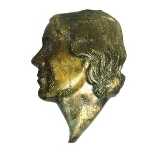 Antique Art Nouveau Solid Brass Female Profile