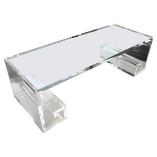 Custom Made Lucite Greek Key Coffee Table