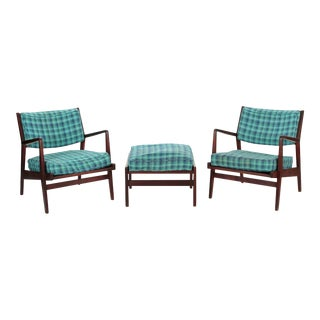 Jens Risom Mid Century Modern Walnut Arm Lounge Chairs with Ottoman - Set of 3