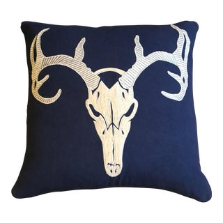 Embroidered Deer Skull Pillow