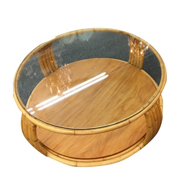 Boho Rattan Coffee Table: Paul Frankl Rattan Coffee Table