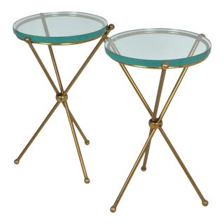 Brass and Glass Drinks Tables - A Pair