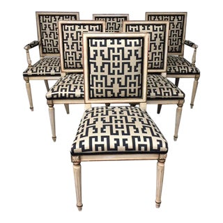 Geo Print Directoire Dining Chairs – Set of 6