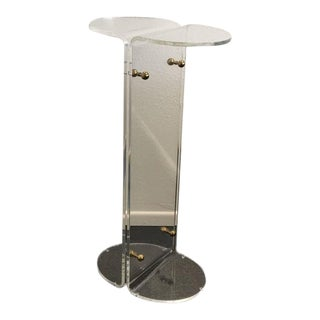 1970s Acrylic and Brass Pedestal in the Manner of Charles Hollis Jones