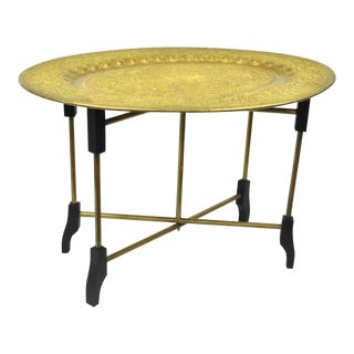 Mid-Century Moroccan Brass Tray Top Folding Accent Table