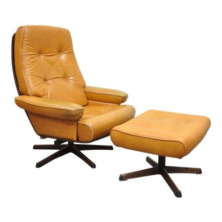 Gote Mobler Nassjo Mid-Century Modern Caramel Leather Chair & Ottoman - A Pair