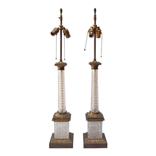 French Empire Style Crystal Column Lamps - A Pair