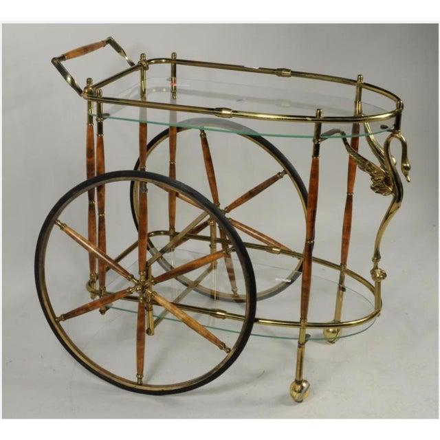 Vintage Brass & Glass Drink Cart - Image 2 of 4