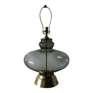 Mid-Century Smoked Glass Globe Lamp