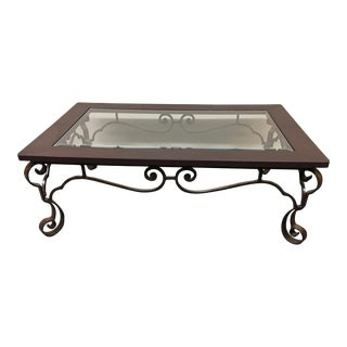 Leather & Wrought Iron Coffee Table