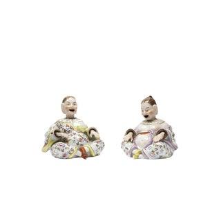 Beautiful Nodding Head Figures -Man & Woman-Antique German Porcelain c1900
