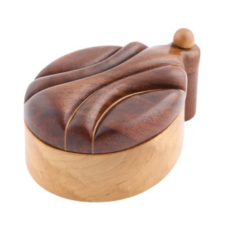 EXOTIC WOOD BOX WITH SWING-OPEN TOP BY JERRY MADRIGALE, CIRCA 1980S