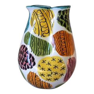 Italian Mid-Century Abstract Multi-Color Ceramic Pinch Vase