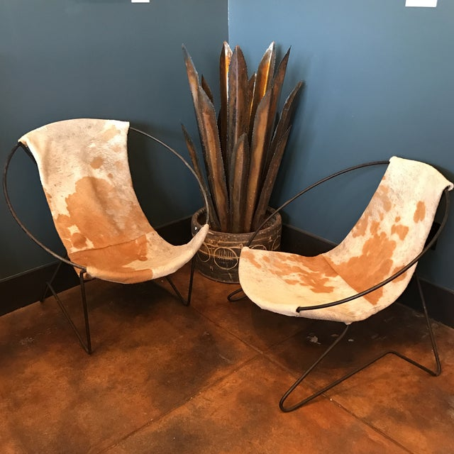 Mid-Century Cowhide Sling Hoop Chairs - Image 2 of 10