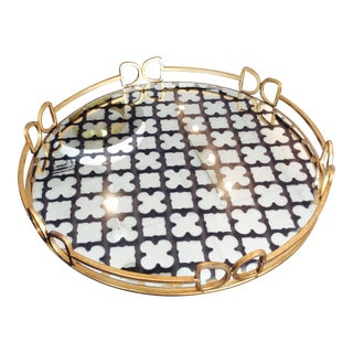 Gold & Glass Serving Tray