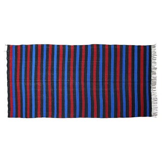 Moroccan Blue & Red Striped Berber Blanket
