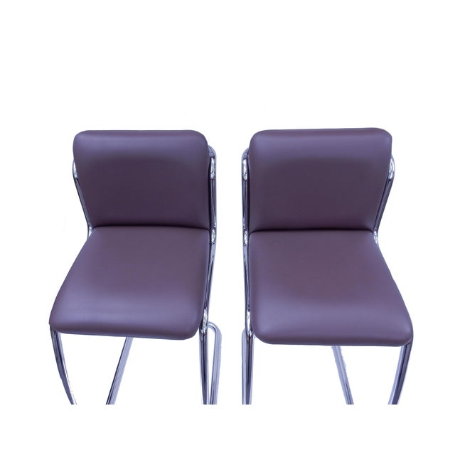 Brueton Modern Leather Barstools - A Pair - Image 3 of 5