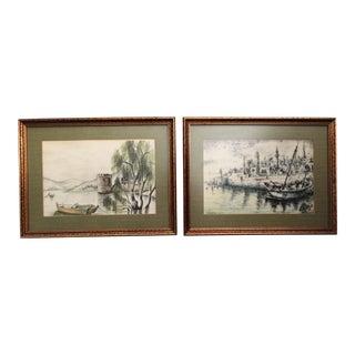 Orientalist Mediterranean Port Lithographs - A Pair