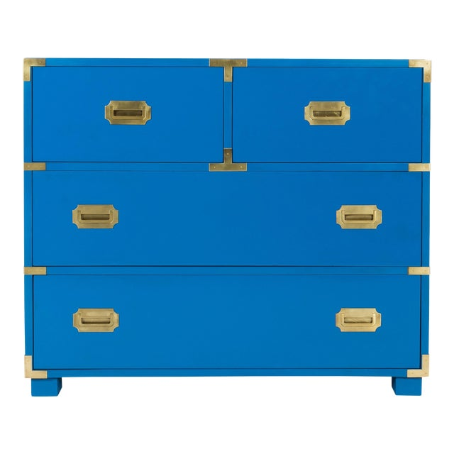 1970s Newly Refinished Baker Blue Campaign Dresser - Image 1 of 6