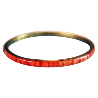 Thin Genuine Coral & Brass Bangle Bracelet