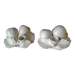 Vintage Italian White Porcelain Fruit Motif Candlesticks- A Pair