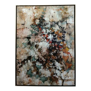Michel De Gallard- MidCentury Modern abstract architectural view-oil Painting c.1950 Oil painting on canvas -Signed
