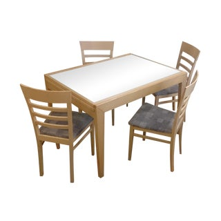 Modern Glass & Wood Expandable Dining Set