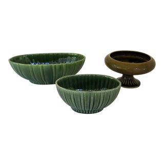 Vintage Olive Green Floraline Pedestal Planter and Juniper Green Haeger Scalloped Planters - 3 Piece Set