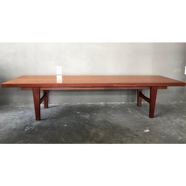 Image of Danish Modern Coffee Table Bench W/ Slide Out Trays