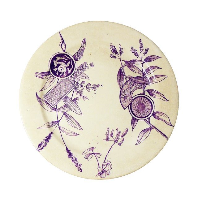 Image of Rare Antique Purple Aesthetic Transferware Plate