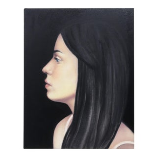 Silhouette Portrait of Young Woman with Black Hair