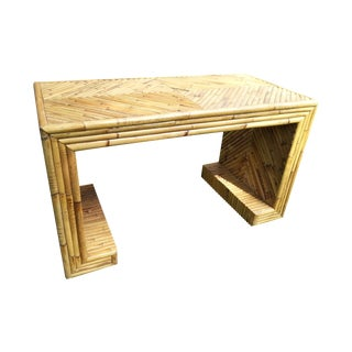 Vintage Bamboo Scroll Side Table