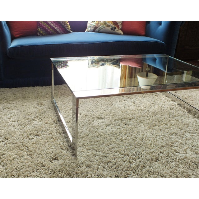 Mid-Century Modern Chrome & Glass Cocktail Table - Image 6 of 10