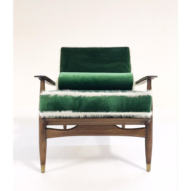 Vintage Walnut Lounge Chair Attributed to Finn Juhl Restored in Schumacher's Emerald Green Silk Velvet and Brazilian Cowhide - Image 3 of 10