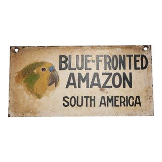"""1930s Hand-Painted Sign of """"Blue Fronted Amazon"""""""