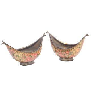 Floral Kashmiri Kashkul Bowls - A Pair