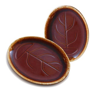 McCoy Brown Glaze Serving Platters - A Pair