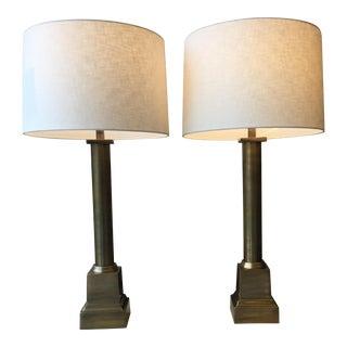Antique Brass Column Lamps - A Pair