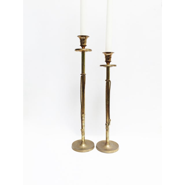 Vintage Brass Tasseled Candleholders - A Pair - Image 2 of 6