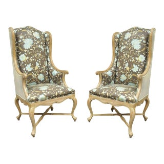 Hollywood Regency French Country Carved Wingback Chairs - A Pair