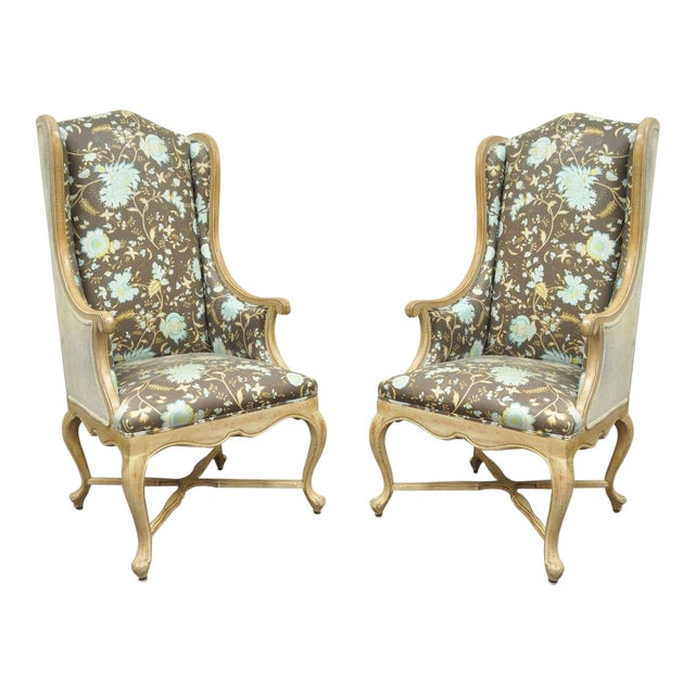 Hollywood Regency French Country Carved Wingback Chairs - A Pair - Image 1 of 11