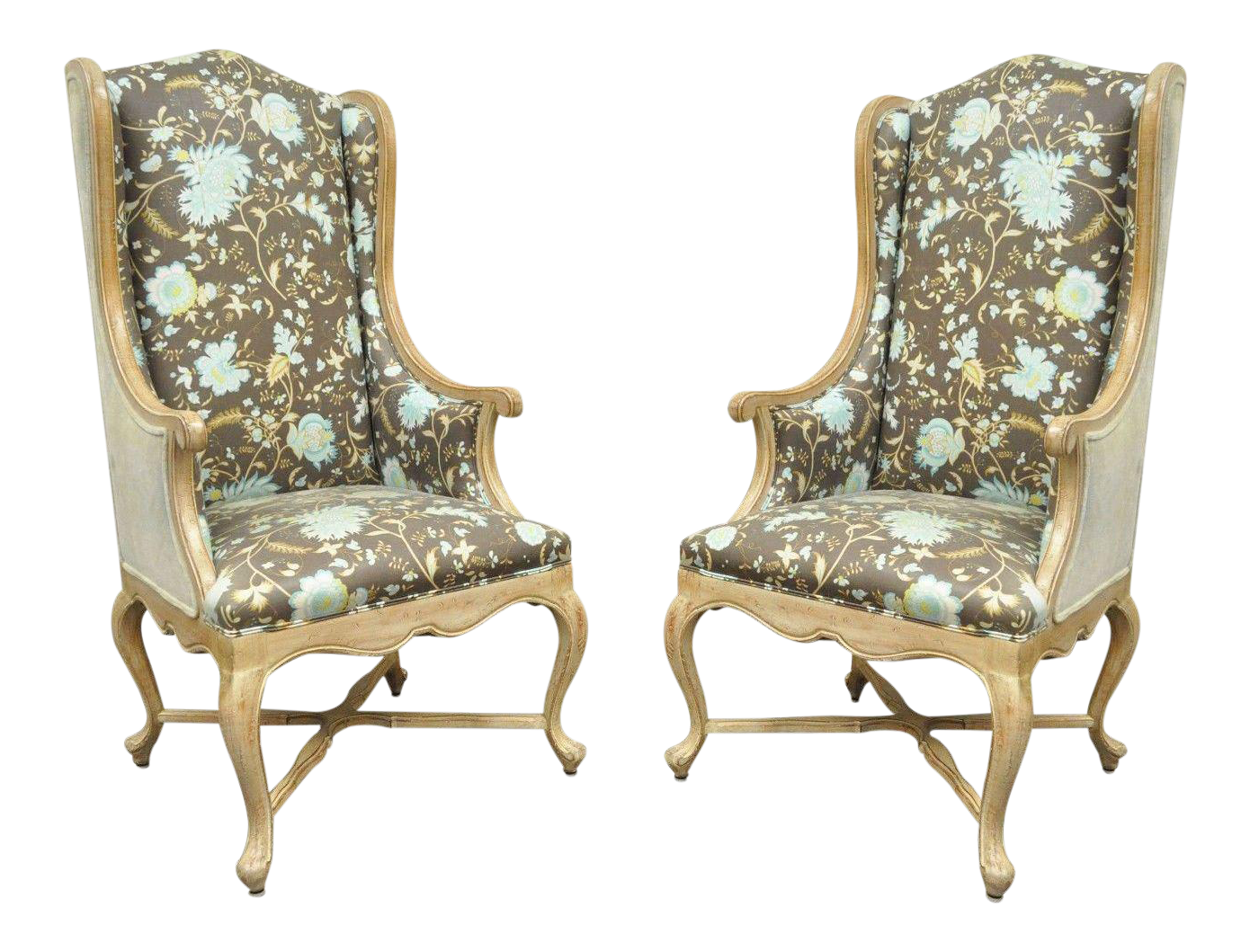 Hollywood Regency French Country Carved Wingback Chairs   A Pair