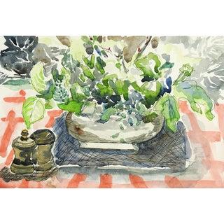 Modernist Still Life Tabletop Watercolor