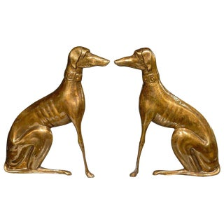 Pair of English Brass Greyhound Dog Andiron Sculptures from the 1930s