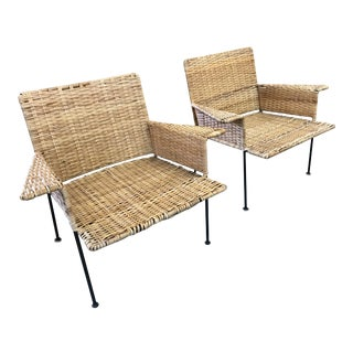 Van Keppel Green Rattan & Iron Chairs - A Pair