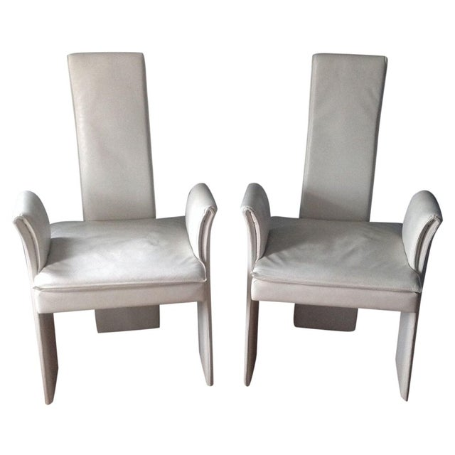 Vintage White Leather Chairs - A Pair - Image 1 of 4