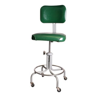 Vintage Industrial Green Steel Swivel Drafting Stool