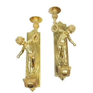 Vintage Italian Brass Cherub Candle Wall Sconces - a Pair